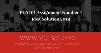CS501 Assignment number 1 Idea Solution 2019