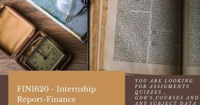 FINI620 - Internship Report-Finance