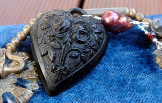 Black vulcanite heart pendant with multi gemstone necklace chain