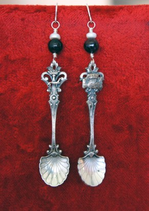 Earrings with antique spoons