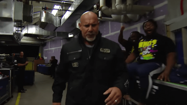 Let's all take a moment to appreciate Big E's reaction to seeing Goldberg backstage