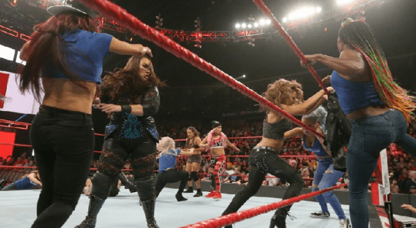 The RAW and SmackDown women brawl