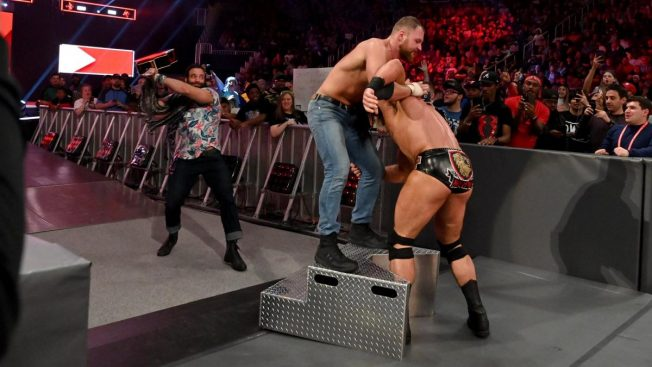 Elias attacks Dean Ambrose mid-match with Drew McIntyre