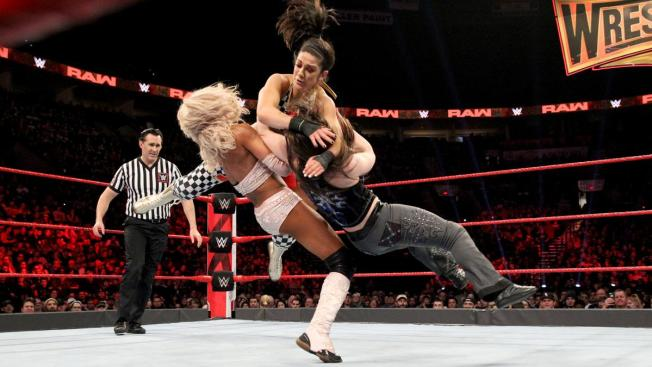 Bayley takes down Alicia Fox and Nikki Cross