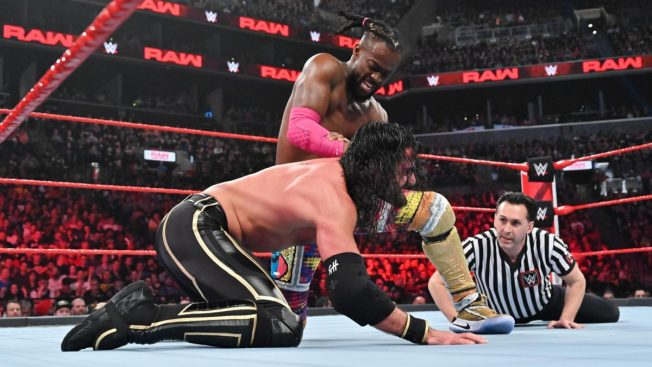 Kofi Kingston controls Seth Rollins