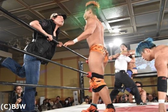 Tajiri delivering the mist