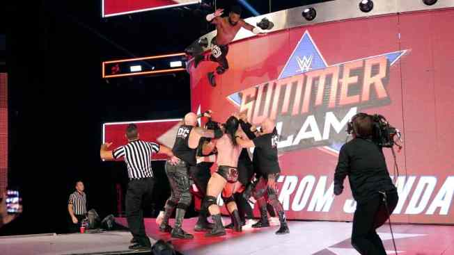 Cedric Alexander jumps from the scenery onto Reigns, The Usos, The OC, Drew McIntyre and Samoa Joe
