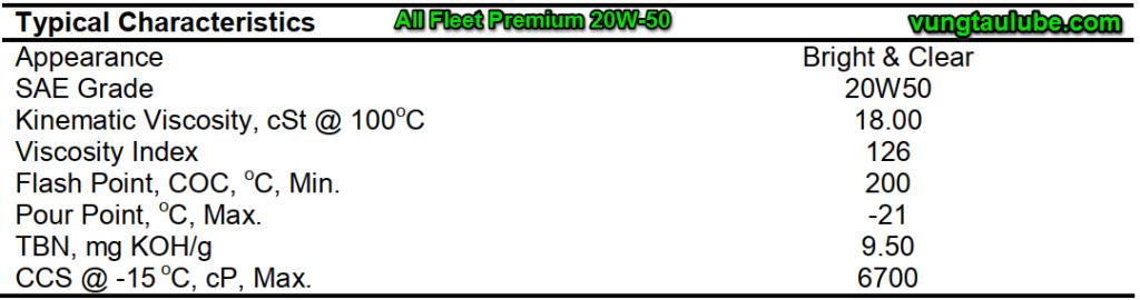 valvoline all fleet premium 20w50