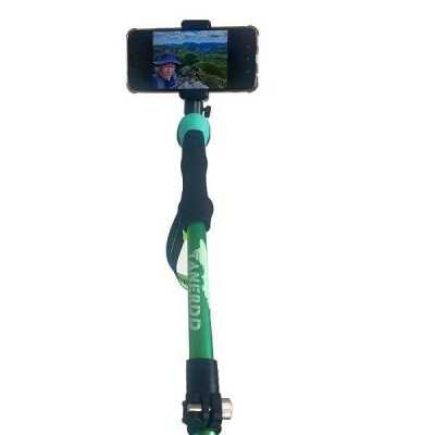 green hiking selfie pole monopole tripod