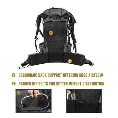 Ultralight Tramping Backpack with Frame Rear View Exploded