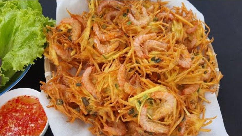 hướng dẫn làm khoai lang chiên - Cách làm Bánh Tôm Chiên Khoai Lang thơm ngon giòn rụm