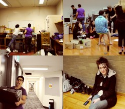"behind the scenes of ""Boxed In"", Melbourne Fringe Festival 2015. From left to right, clockwise: our beautiful stack of stage junk, the cast and directors take a break, stage manager Fulya hauls a set piece down the halls of VU Footscray Park, and set designer Sian caught by surprise."