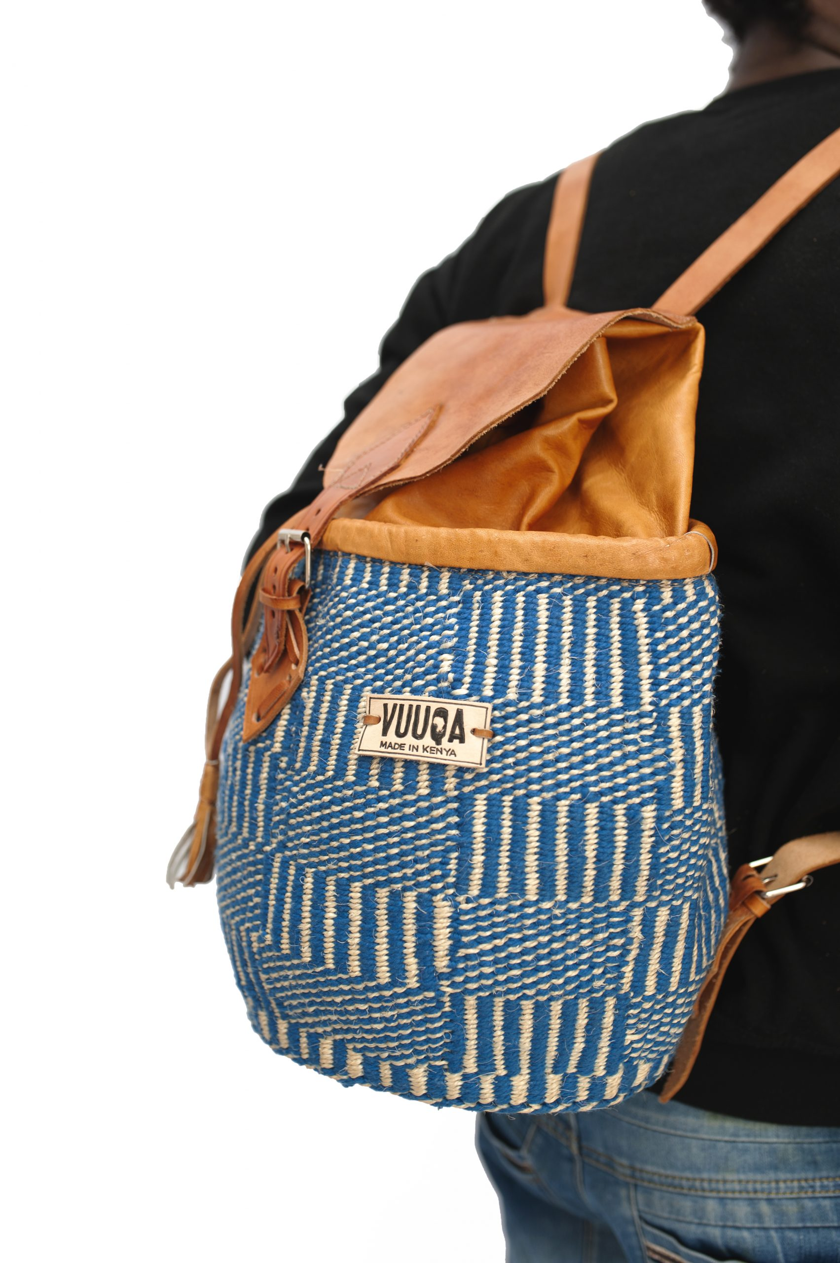 Kiondo Sisal Backpack – Blue