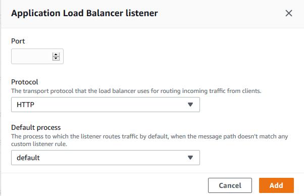 Elastic Beanstalk Load balancer configuration page
