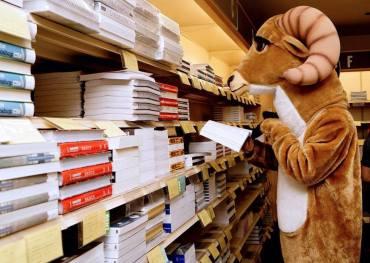 rammy in bookstore