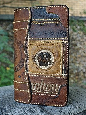 Brown Checkbook Cover Made From Nokona Baseball Glove Leather