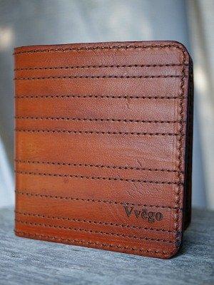 brown bi fold wallet with panel stitching -- vvego.com