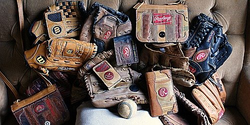 Examples of custom recycled baseball glove leather items made by VVego.com -- Send Us Your Glove