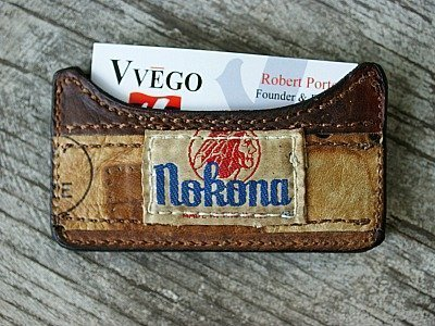 business card holder made from Nokona baseball glove leather