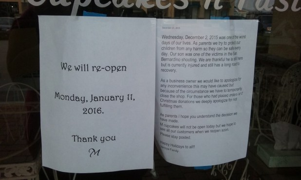 M Cupcakes n Pastries closed due to their adult son being shot in the San Bernardino shooting December 2nd.