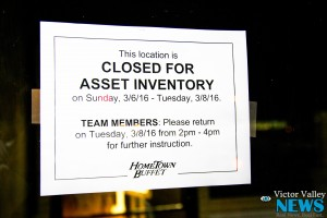 """A sign posted on the main door of the restaurant reads """"closed for asset inventory."""" (Gabriel D. Espinoza, Victor Valley News)"""