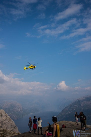 While on top, a Search and Rescue Eurocopter arrived, responding to an emergency call near the Preikestolen.