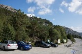 Parking at the foot of the Preikestolen trek. Parking costs 100kr for cars and prepare to have change with you.