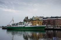 One of the ships on the Easter side of the Vaden contrasted by some old buildings, including the beautiful Victoria Hotel.