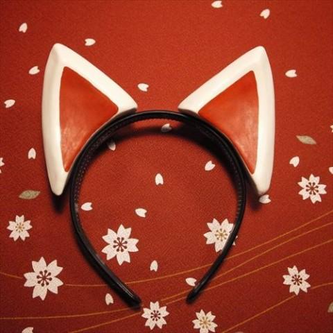 【絵本狐堂】狐耳(柄黒色)【9月下旬入庫予定】