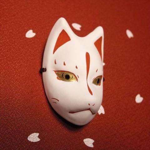 【絵本狐堂】ミニ子狐面(赤)