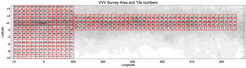 VVV Survey Area Tile Numbers