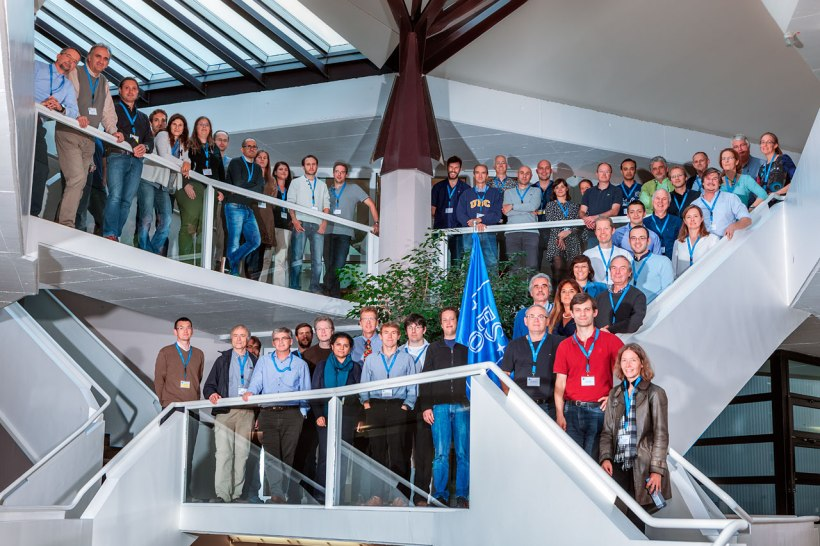 "Group photo of the workshop ""Rainbows on the Southern Sky: science and legacy value of the ESO Public Surveys and Large Programmes"", held at ESO Headquarters in Garching on 5–9 October 2015. More information on http://www.eso.org/sci/meetings/2015/Rainbows2015.html"