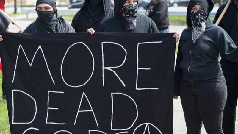 Протесты в США. Больше мёртвых легавых! - надпись на плакате