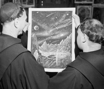 Monks Looking at Dali Painting