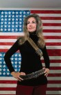 Woman Models Cartridge Belt by Famous Painting