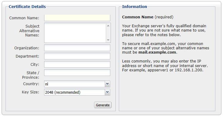 Easily create CSR for Exchange Certificate (2010) – vWorld nl