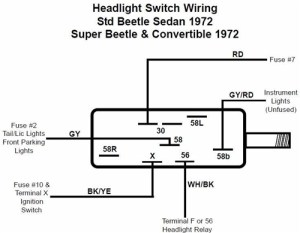 Headlight Switch, 197177 VW Beetle, Ghia, and Type 3