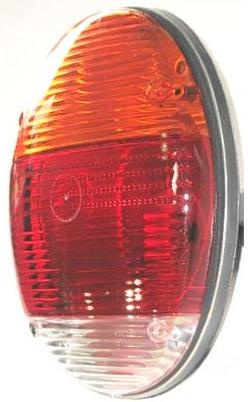Euro Flat Tail Light Assembly, 1973 VW Type 1, 133945097AMBER  AircooledNet Volkswagen Parts