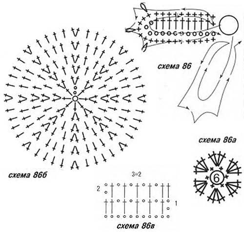 шапка с цветком схема вязания