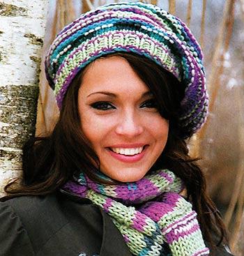 шапка-берет и шарф спицами