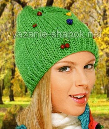 шапка спицами на девочку-подростка