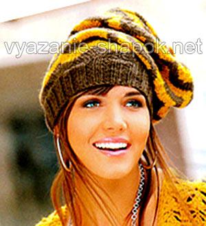 шапка мешок спицами с узором