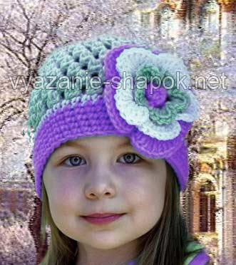 шапочка для девочки с цветком