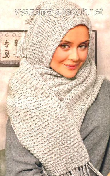шарф капюшон спицами со схемой