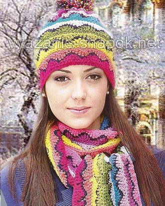 ажурная вязаная шапка на 2014 год с помпоном в комплекте с шарфом