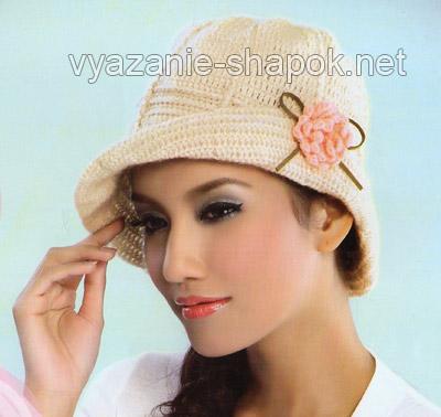 шляпа крючком с цветком