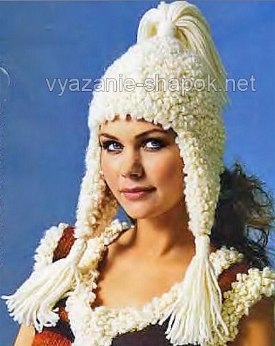 зимняя шапка с ушками - вязание спицами