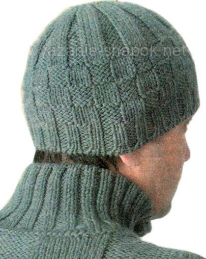 Зимняя мужская шапка шахматка спицами