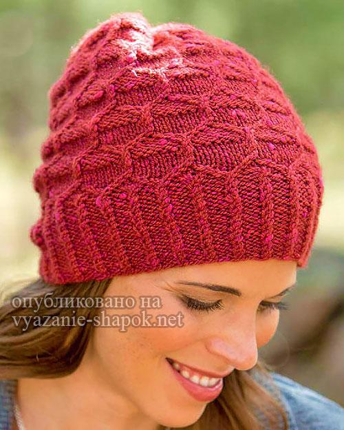 Вязание спицами - шапка Rockwell