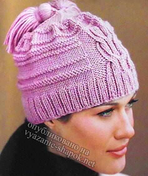 Красивая шапка с кисточками спицами